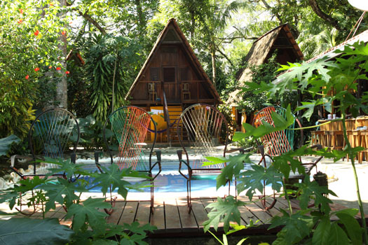 cabin and pool at Howler Monkey Hotel